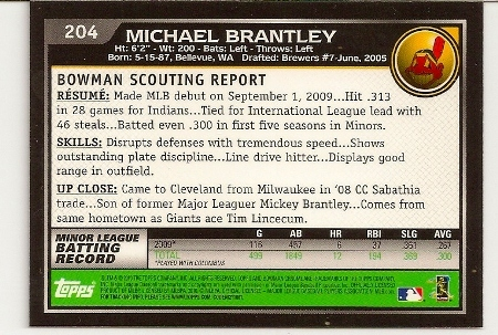michael-brantley-2010-bowman-chrome-rookie-card-back