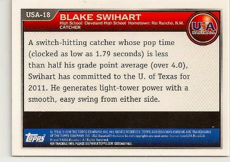 Blake Swihart 2010 Bowman Chrome Rookie Card Back