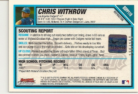 chris-withrow-2007-bowman-chrome-draft-blue-refractor-AUTO-rookie-card-back