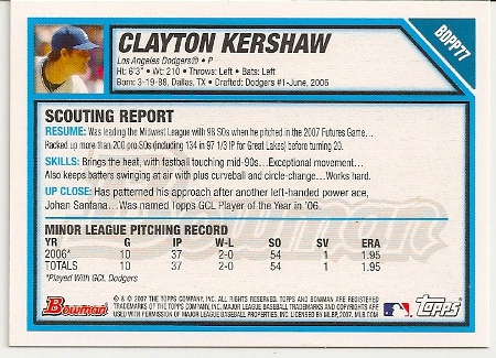 Clayton Kershaw 2007 Bowman Draft Rookie Card Back