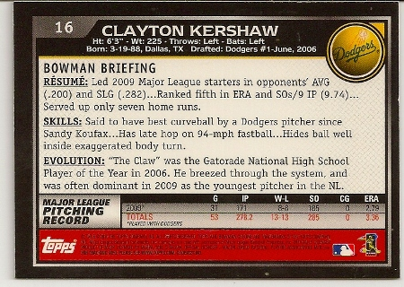 Clayton Kershaw 2010 Bowman Chrome Baseball Card Back