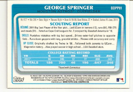 george-springer-2011-bowman-chrome-rookie-card-back