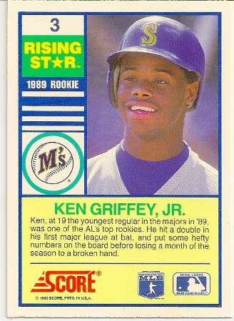 Ken Griffey, Jr 1990 Score Rising Star Baseball Card Back