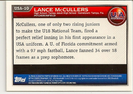 Lance McCullers 2010 Bowman Chrome Rookie Card Back